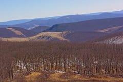 Paysage montagneux de la campagne de la Virginie Occidentale en hiver, Etats-Unis photo stock