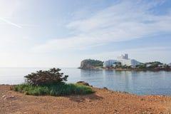 Paysage naturel de roche et d'océan d'Ibiza Image stock