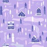 Paysage neigeux d'hiver avec des maisons, des arbres et des personnes illustration stock