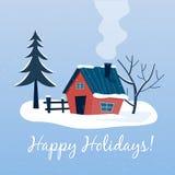 Paysage neigeux d'hiver avec la maison de campagne Bonnes fêtes illustration stock