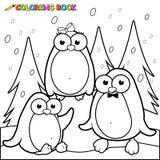 Paysage neigeux de page de coloration avec des pingouins sur la glace Image libre de droits