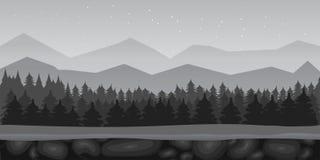 Paysage noir et blanc de fond de jeu de forêt de bande dessinée Illustration de vecteur illustration de vecteur