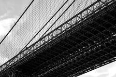 Paysage noir et blanc de pont de Manhattan Images libres de droits