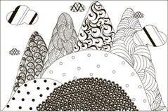 Paysage noir et blanc tiré par la main de montagne de Zentangle, anti effort illustration stock