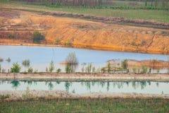 Paysage non-écologique de Technogenic avec l'érosion du sol photo libre de droits