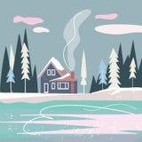 Paysage nordique plat avec la maison, la forêt et le lac illustration de vecteur
