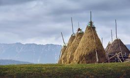 Paysage nuageux rural avec des meules de foin en Transylvanie, Roumanie Photo stock