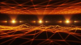 paysage orange de 3D Wireframe à l'arrière-plan de boucle du cyberespace VJ illustration de vecteur