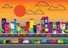 Paysage ou cytyscape avec des bâtiments et des véhicules Photographie stock
