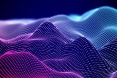 Paysage ou soundwaves numériques abstraits avec les particules débordantes illustration stock
