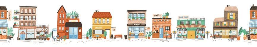 Paysage ou vue urbain de rue europ?enne de ville avec des magasins, magasins, caf? de trottoir, restaurant, boulangerie, caf? illustration stock