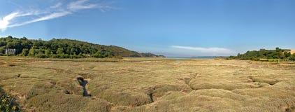 Paysage panoramique côtier d'herbe avec le ciel bleu brittany Photo libre de droits