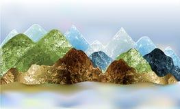 Paysage panoramique d'abrégé sur hiver avec des montagnes des polygones illustration de vecteur