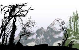 Paysage panoramique d'hiver de montagne avec des roches et des silhouettes des arbres illustration stock