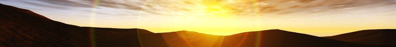 Paysage panoramique de coucher du soleil au-dessus des collines illustration libre de droits