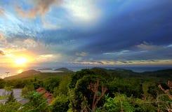 Paysage panoramique de lever de soleil Images stock
