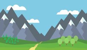 Paysage panoramique de montagne de bande dessinée avec le ciel bleu, nuages blancs Image libre de droits