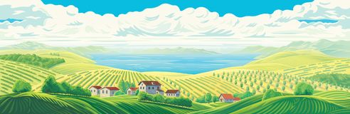 Paysage panoramique rural illustration libre de droits
