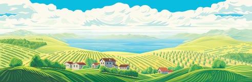 Paysage panoramique rural illustration libre de droits