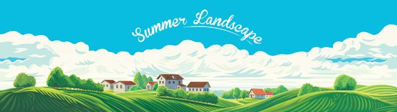 Paysage panoramique rural avec un village et des collines avec illustration stock