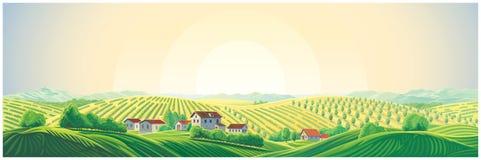 Paysage panoramique rural avec un village et des collines illustration stock