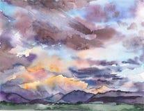 Paysage peint par aquarelle avec un coucher du soleil Photos stock