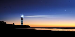 Panoramic landscape showing a lighthouse at dusk, showing the direction royalty free illustration