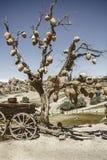 Paysage pittoresque avec des cruches sur un arbre et un vieux chariot complètement des pots d'argile Photo stock