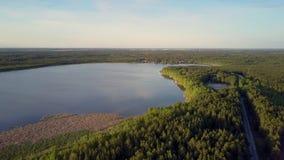 Paysage plat illimité fantastique avec le lac parmi des forêts banque de vidéos