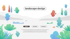 Paysage plat moderne avec des arbres et des buissons de gradient Formes incurvées simples Images stock