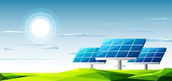 Paysage polygonal avec les panneaux solaires se tenant sous la chaleur de l'utilisation du soleil pour l'alternative d'énergie Photos libres de droits