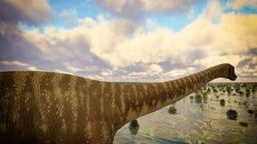 Paysage préhistorique avec le grand rendu du diplodoc 3d Image stock