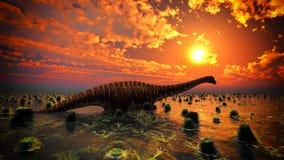 Paysage préhistorique avec le grand rendu du diplodoc 3d Images libres de droits