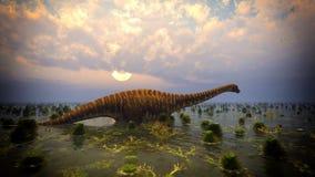 Paysage préhistorique avec le grand rendu du diplodoc 3d Photo libre de droits