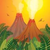 Paysage préhistorique de nature - volcans, dinosaures, fougère illustration de vecteur