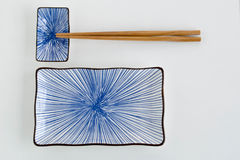 Paysage réglé de plat bleu de sushi Photo stock