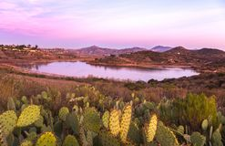 Paysage Rancho Bernardo San Diego County California de coucher du soleil de Hodges de lac Photo libre de droits