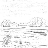 Paysage Rivière de forêt, contour Photographie stock