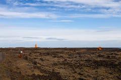 Paysage rocheux pierreux de désert de l'Islande photo stock