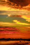 Paysage romantique de plage de Weligama avec le coucher du soleil étonnant Photo libre de droits