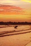 Paysage romantique de plage de Weligama avec le coucher du soleil étonnant Images stock