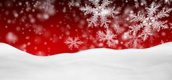 Paysage rouge abstrait d'hiver de panorama de fond avec les flocons de neige en baisse Photos stock