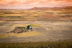 Paysage rural autour de Consuegra, Castille-La Manche, Espagne Photographie stock libre de droits