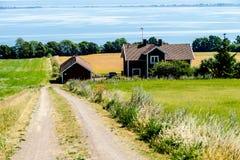 paysage rural avec des maisons, en Suède Scandinavie l'Europe du nord photo stock