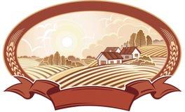 Paysage rural avec des maisons. Monochrome. Photos libres de droits