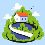 Paysage rural avec la petite maison mignonne sur le fond de la forêt Photo stock