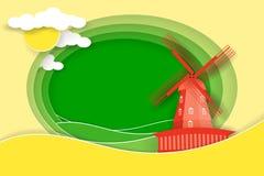 Paysage rural avec le moulin à vent et les prés La coupe de papier forme et pose comme conception de campagne illustration libre de droits