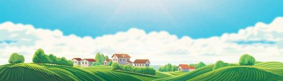 Paysage rural avec un village et des collines illustration de vecteur