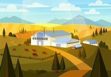 Paysage rural d'été avec des vaches, des collines et la ferme Usine de laiterie, production laitière illustration stock