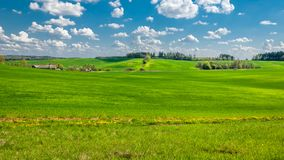 Paysage rural d'été champ accidenté agricole avec une petite hameau, couverte d'herbe verte sous un ciel nuageux bleu photographie stock